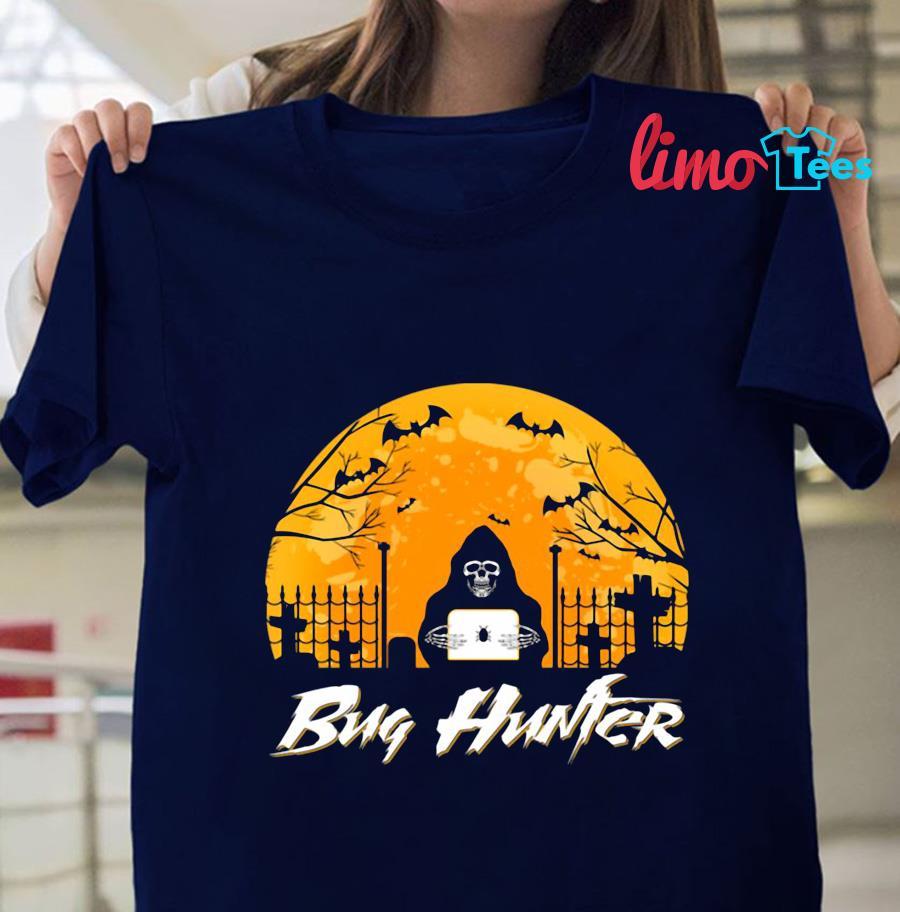 Bug hunter blood moon halloween t-s navy unisex