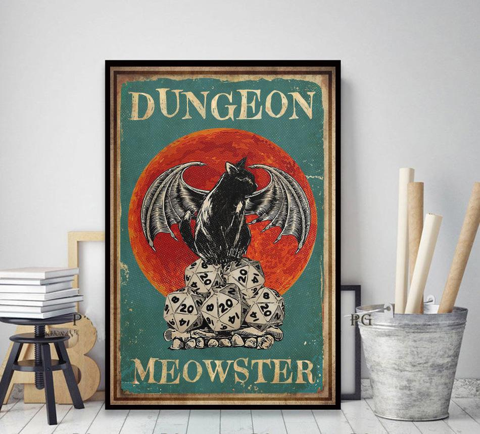 Cat dungeon meowster poster decor art