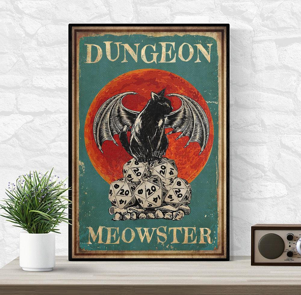 Cat dungeon meowster poster wrapped canvas