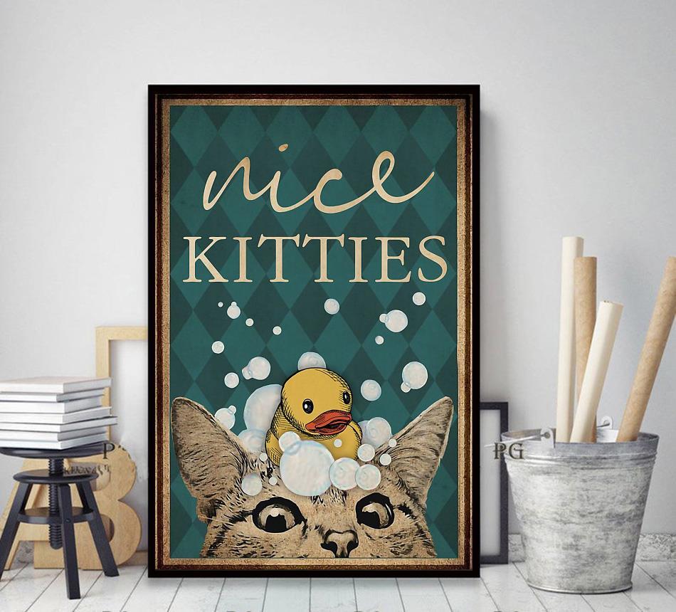 Cat restroom nice kitties canvas decor art