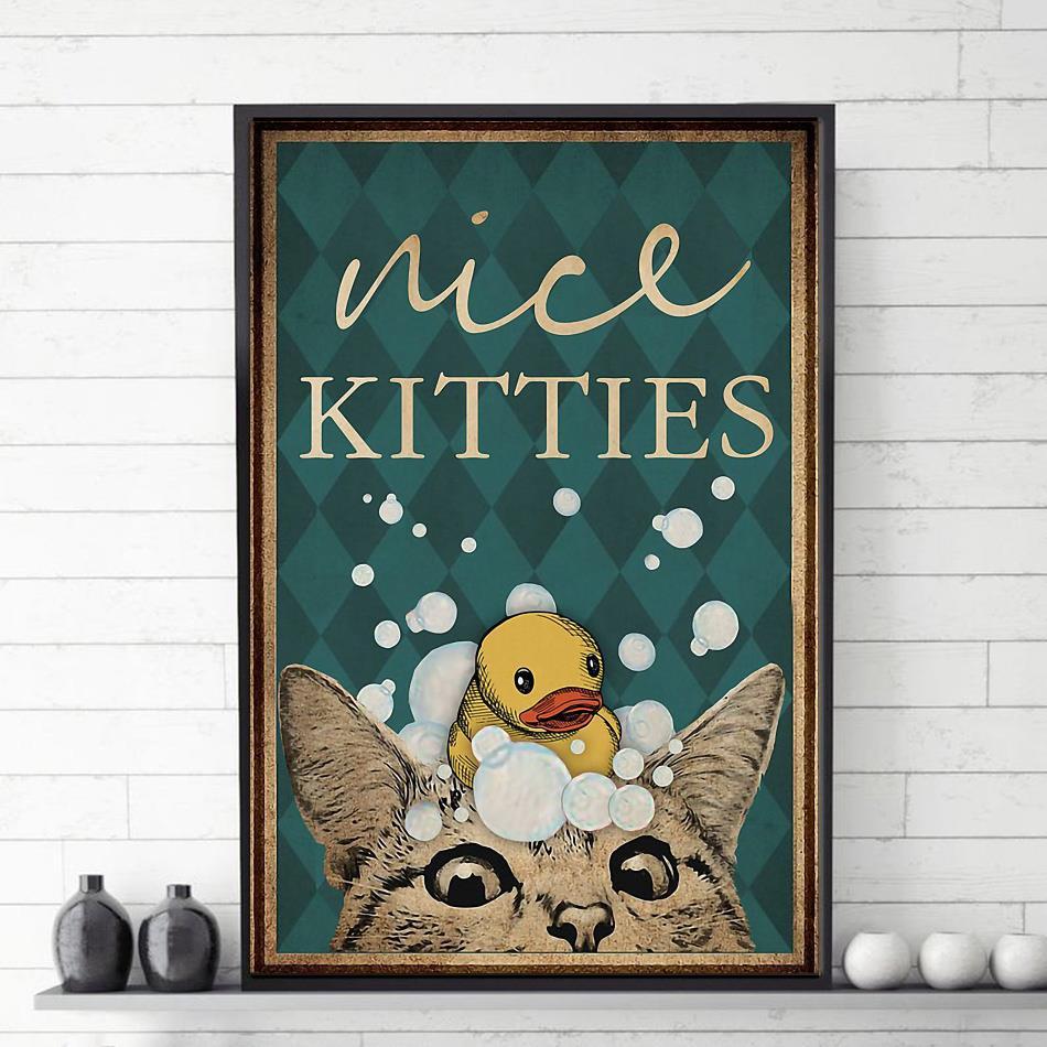Cat restroom nice kitties canvas