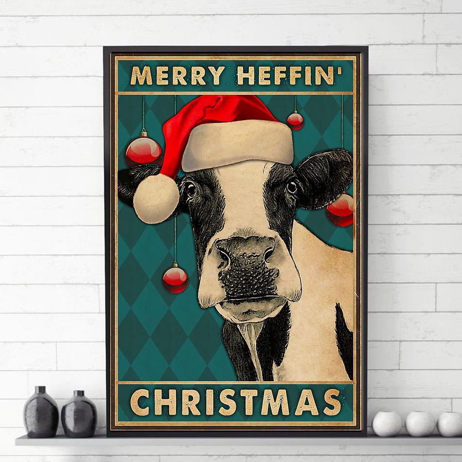 Cow merry heffin Christmas canvas