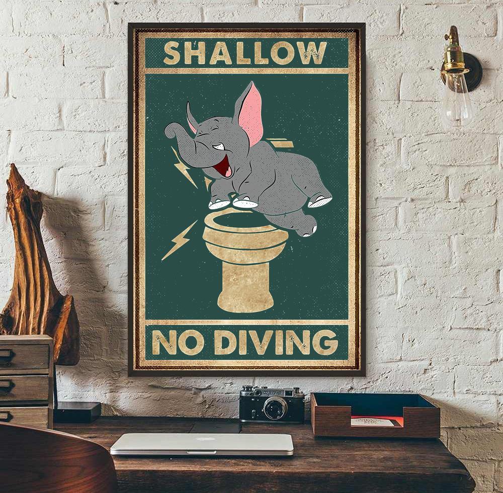 Elephant shallow no diving canvas wall art