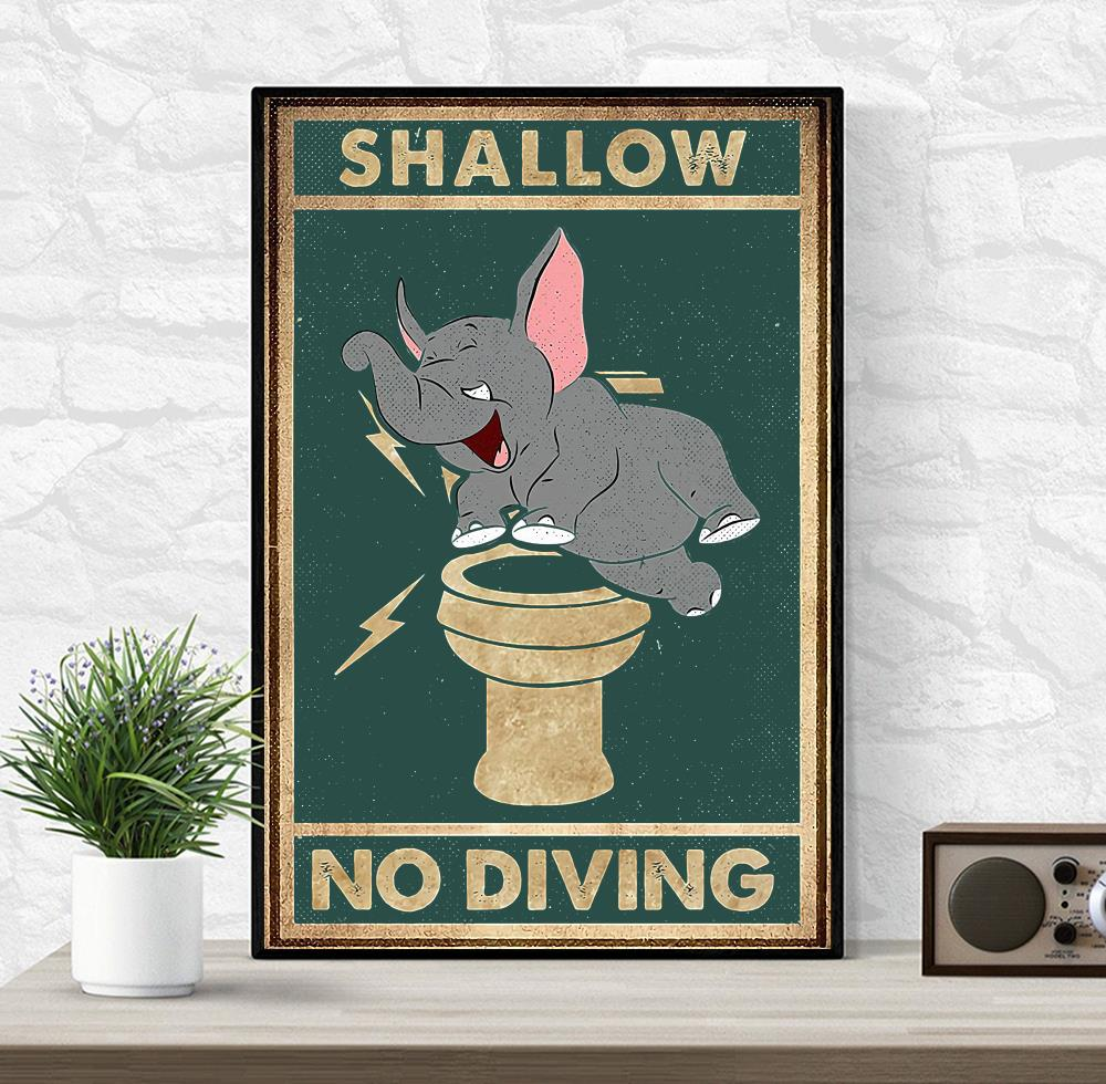 Elephant shallow no diving canvas wrapped canvas