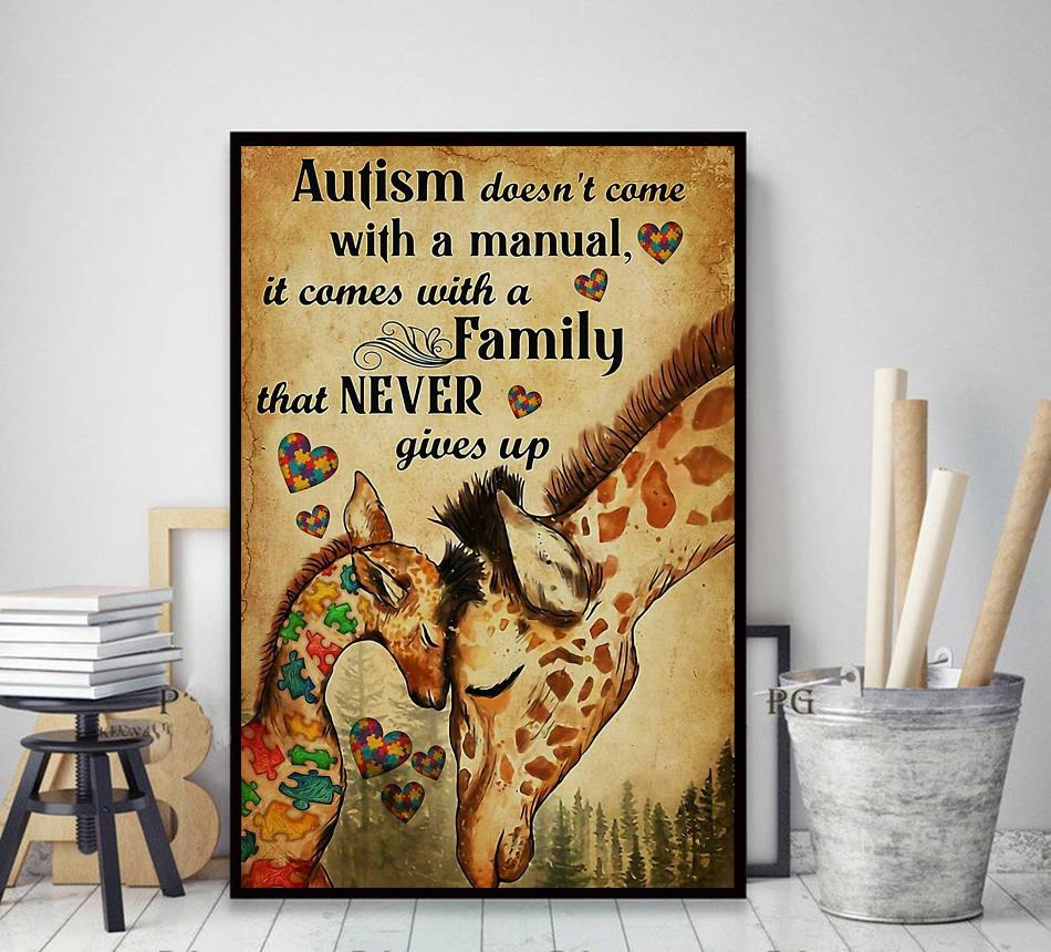 Giraffe autism comes with a family that never give up canvas decor art