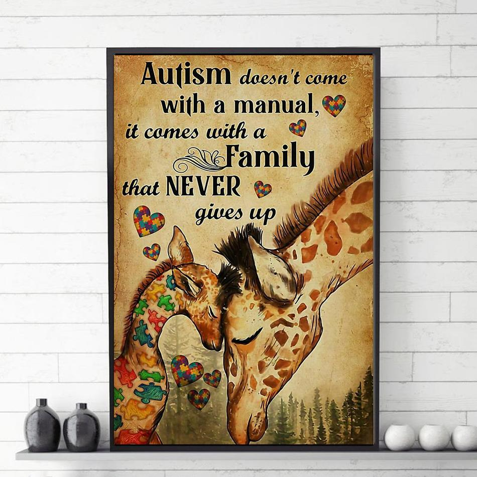 Giraffe autism comes with a family that never give up canvas