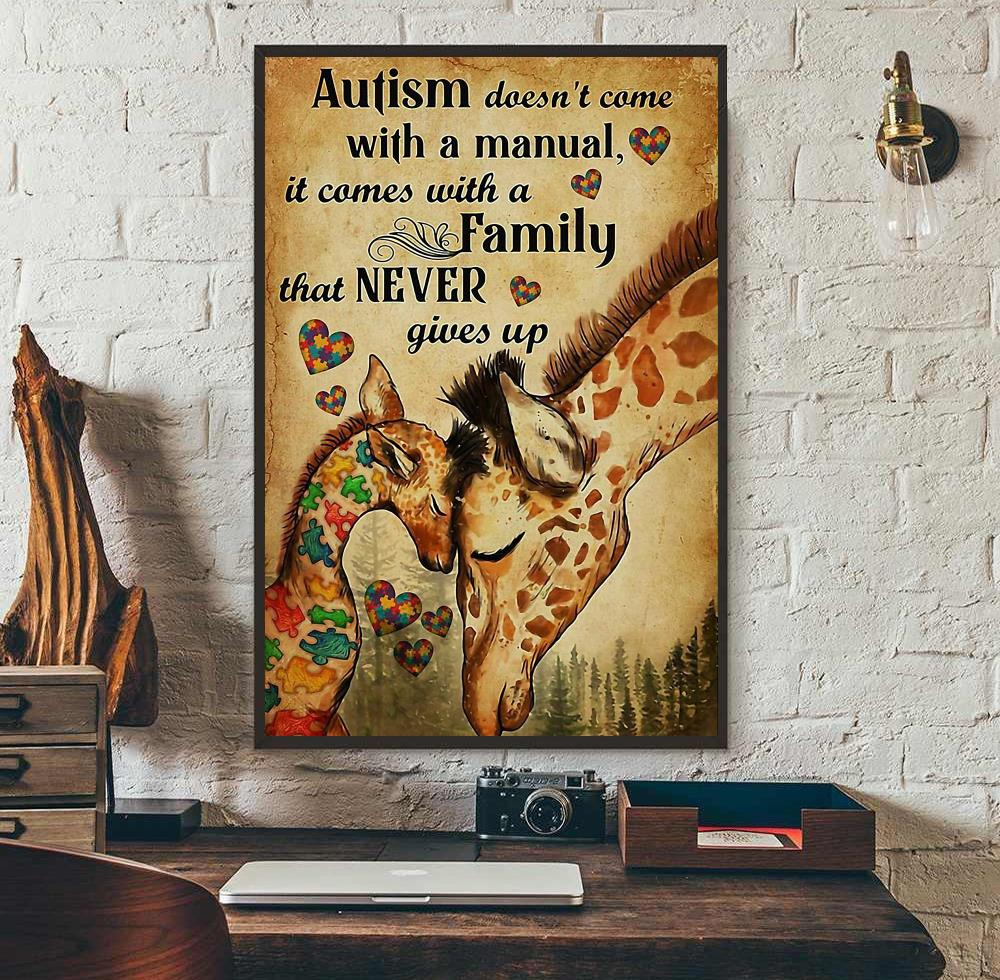 Giraffe autism comes with a family that never give up canvas wall art