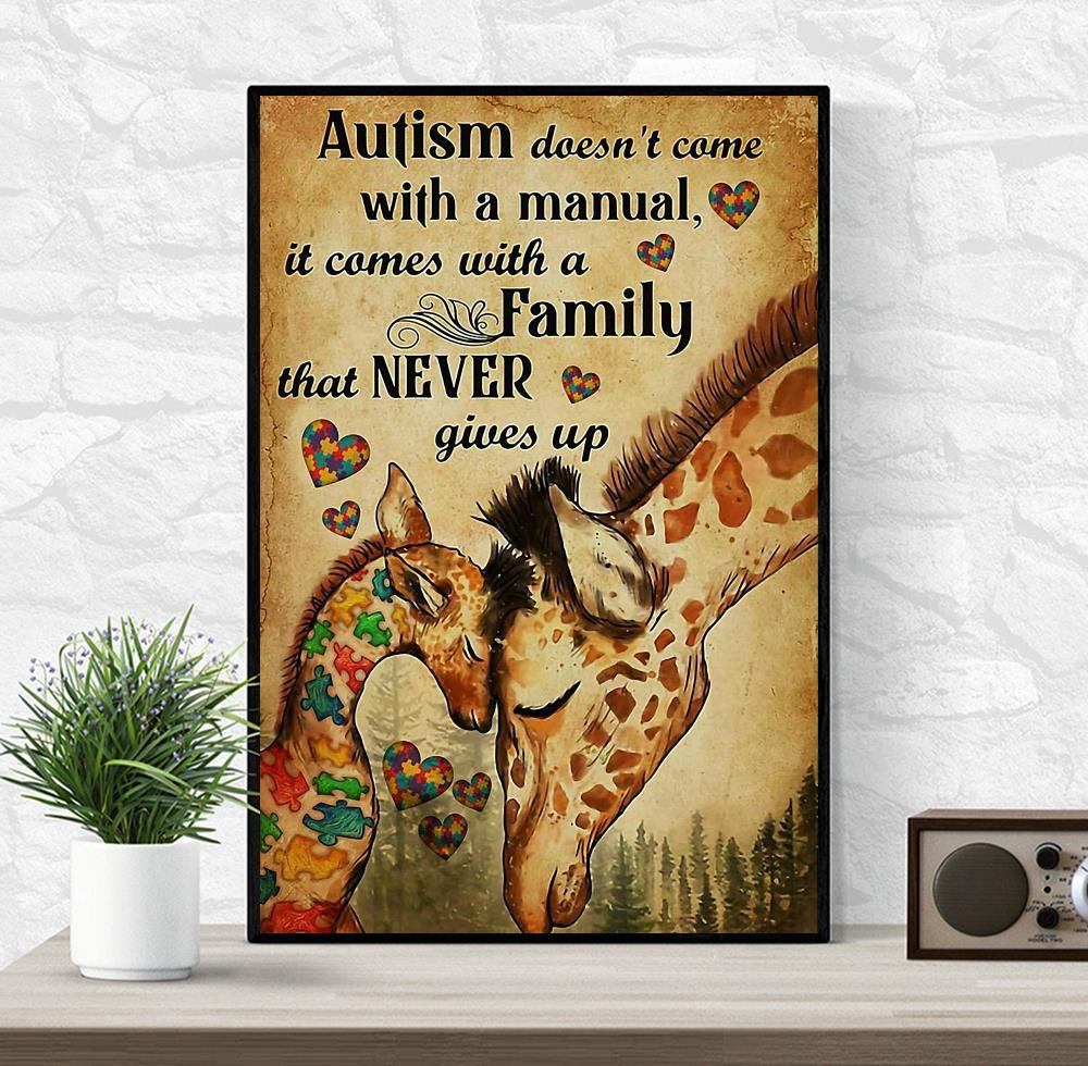 Giraffe autism comes with a family that never give up canvas wrapped canvas