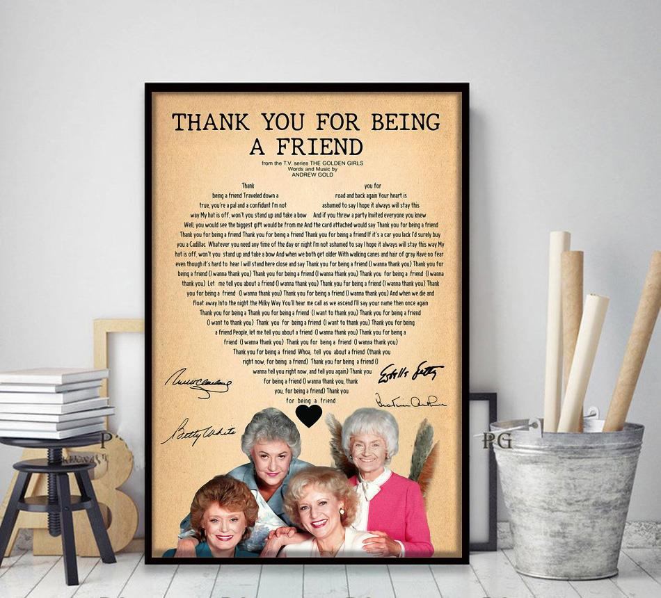 Golden Girls thank you for being a friend poster canvas decor art