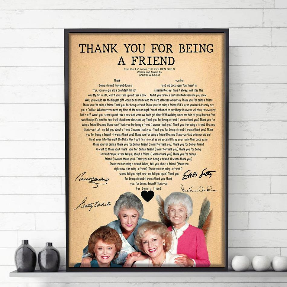 Golden Girls thank you for being a friend poster canvas