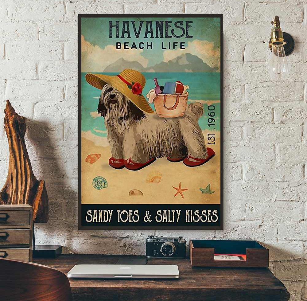 Havanese beach life sandy toes and salty kisses poster canvas wall art