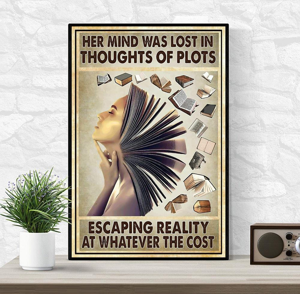Her mind was lost in thoughts of plots poster wrapped canvas