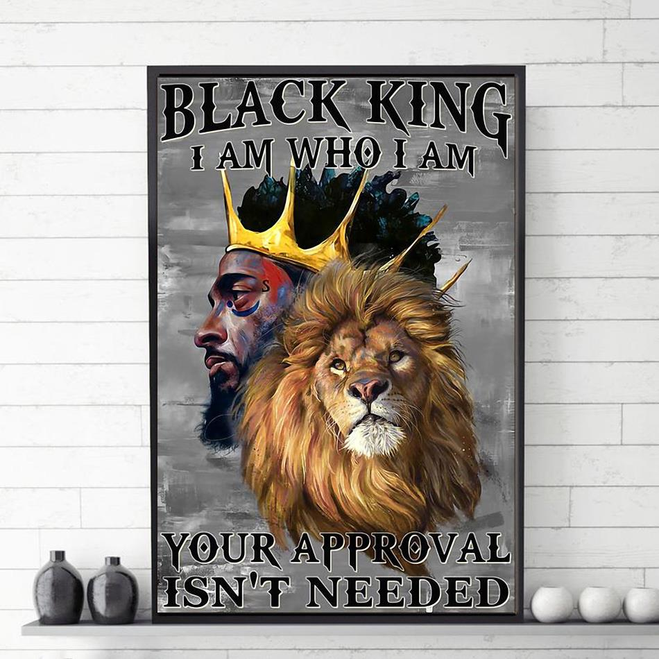 Lion black king I am who I am canvas