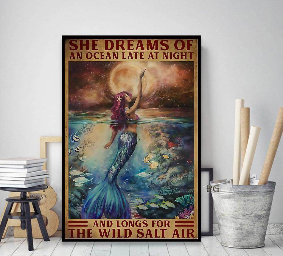 Mermaid princess she dreams of an ocean late at night canvas decor art