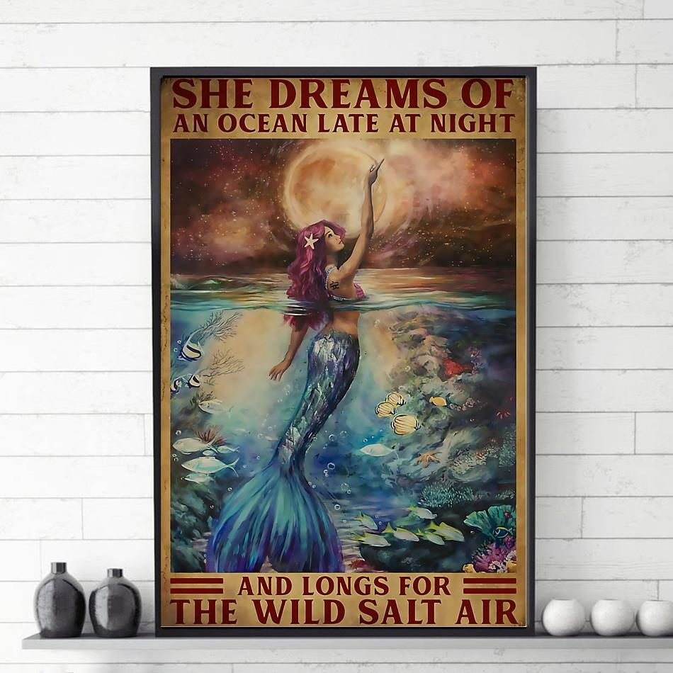 Mermaid princess she dreams of an ocean late at night canvas