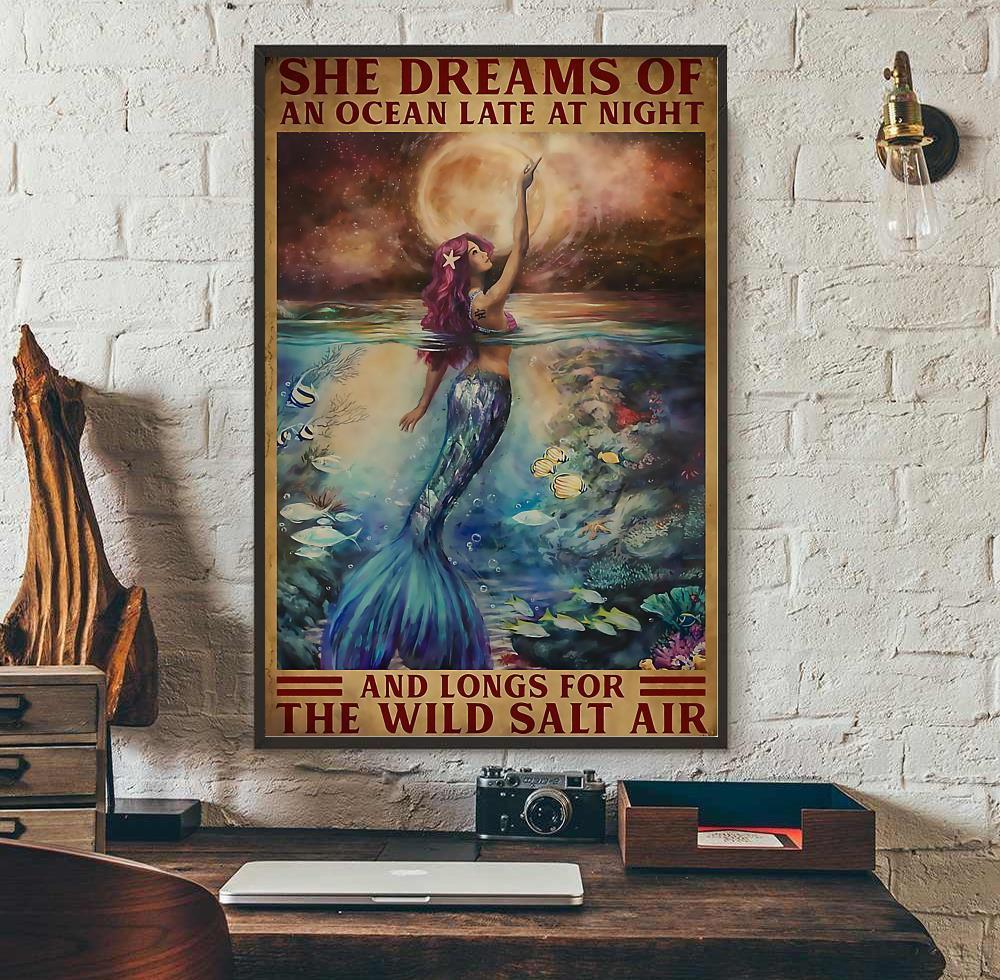 Mermaid princess she dreams of an ocean late at night canvas wall art