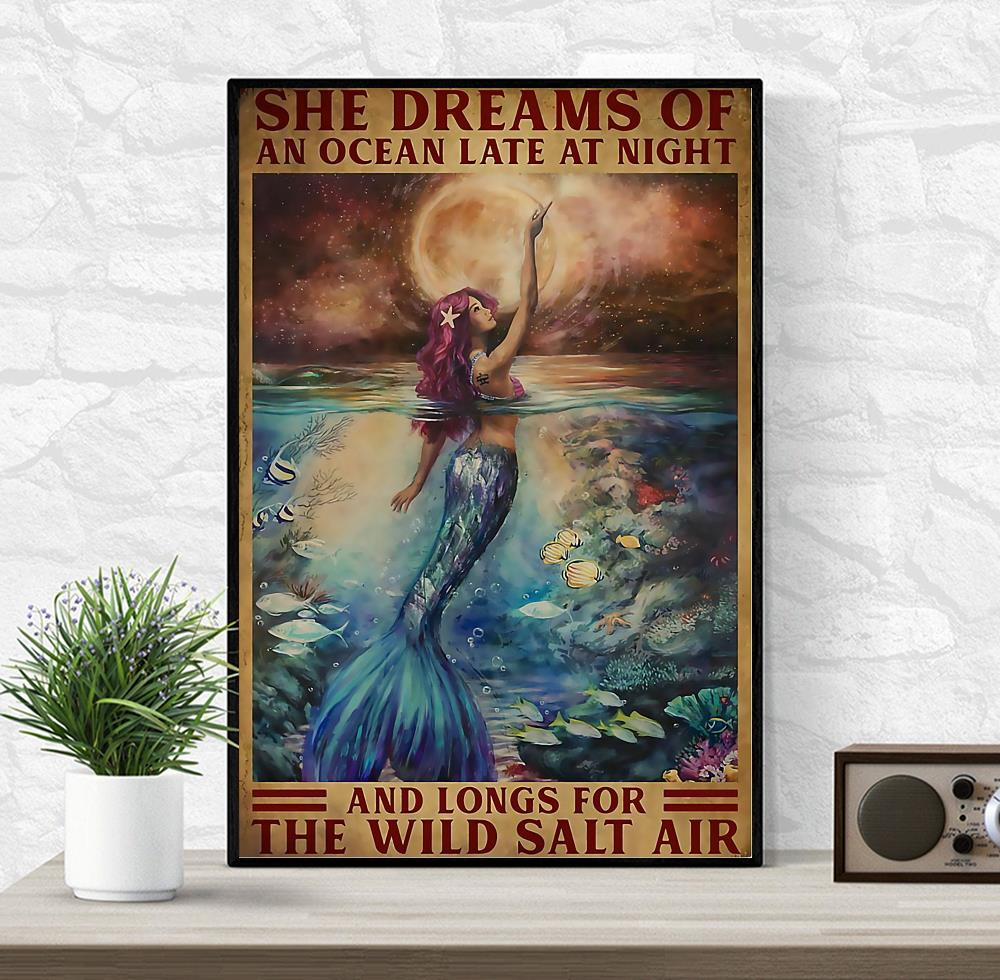 Mermaid princess she dreams of an ocean late at night canvas wrapped canvas