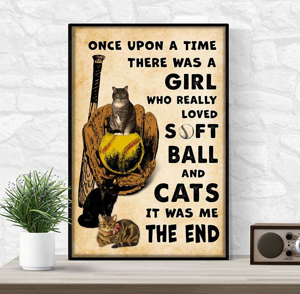 Once upon a time there was a girl who really loved softball and cats poster wrapped canvas