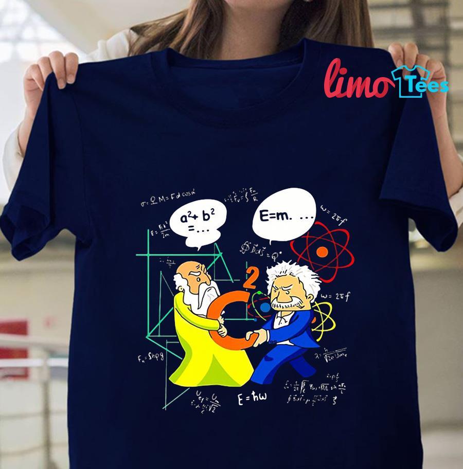 Physics Battle Pythagoras and Einstein t-s navy unisex