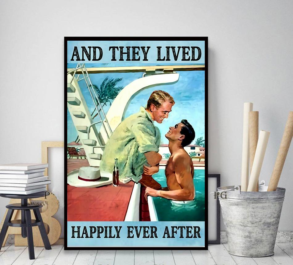 Pride LGBT and they lived happily ever after poster canvas decor art