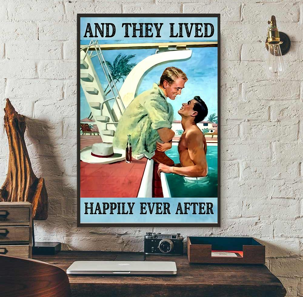 Pride LGBT and they lived happily ever after poster canvas wall art
