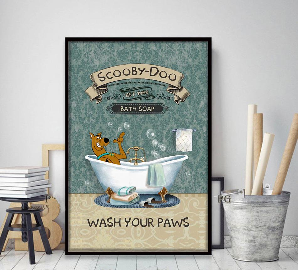 Scooby Bath Soap wash your paws poster canvas decor art