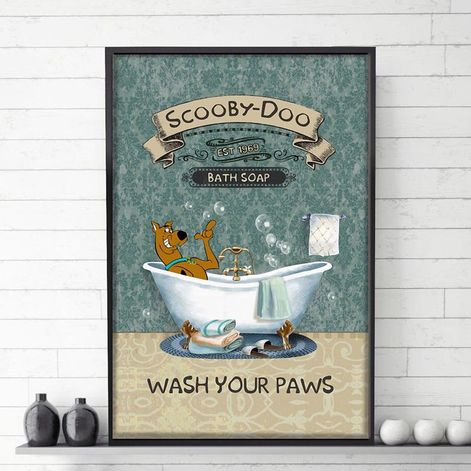 Scooby Bath Soap wash your paws poster canvas
