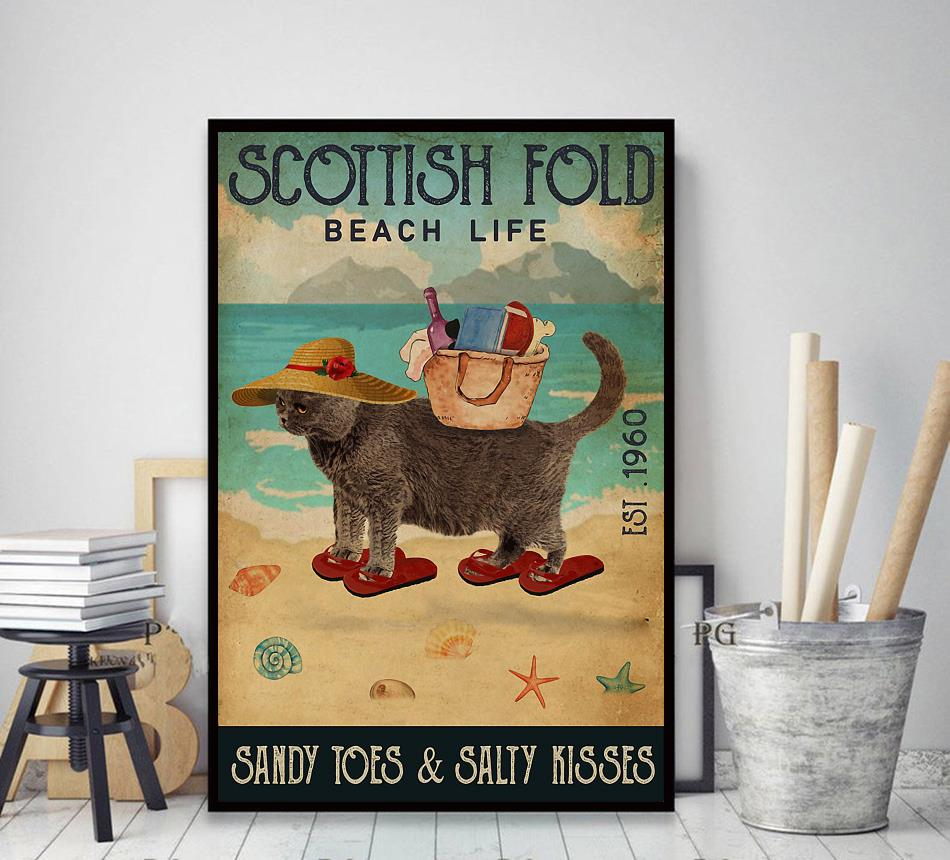 Scottish Fold beach life sandy toes and salty kisses poster canvas decor art