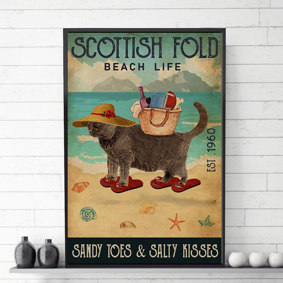 Scottish Fold beach life sandy toes and salty kisses poster canvas