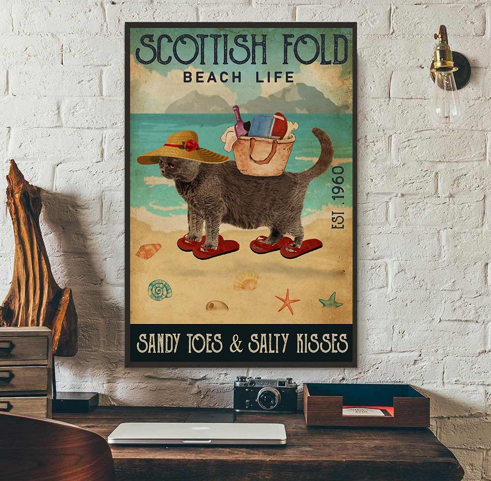 Scottish Fold beach life sandy toes and salty kisses poster canvas wall art
