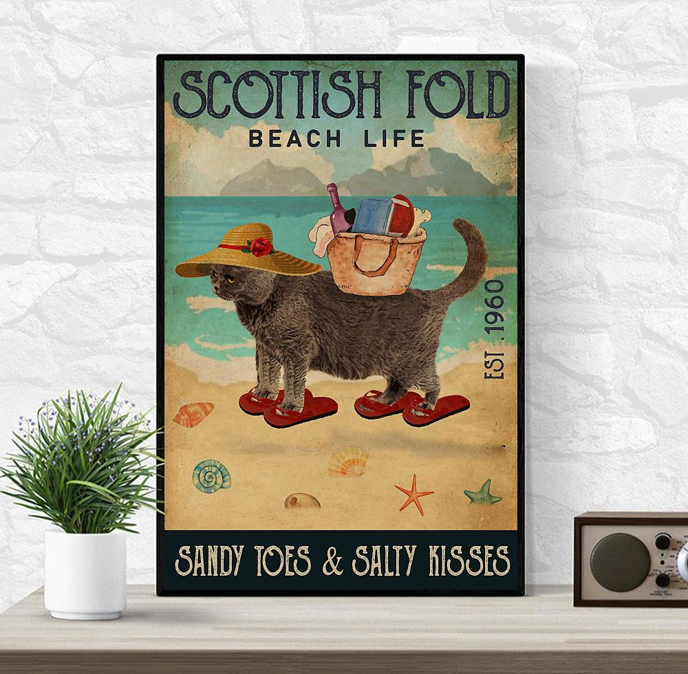 Scottish Fold beach life sandy toes and salty kisses poster canvas wrapped canvas