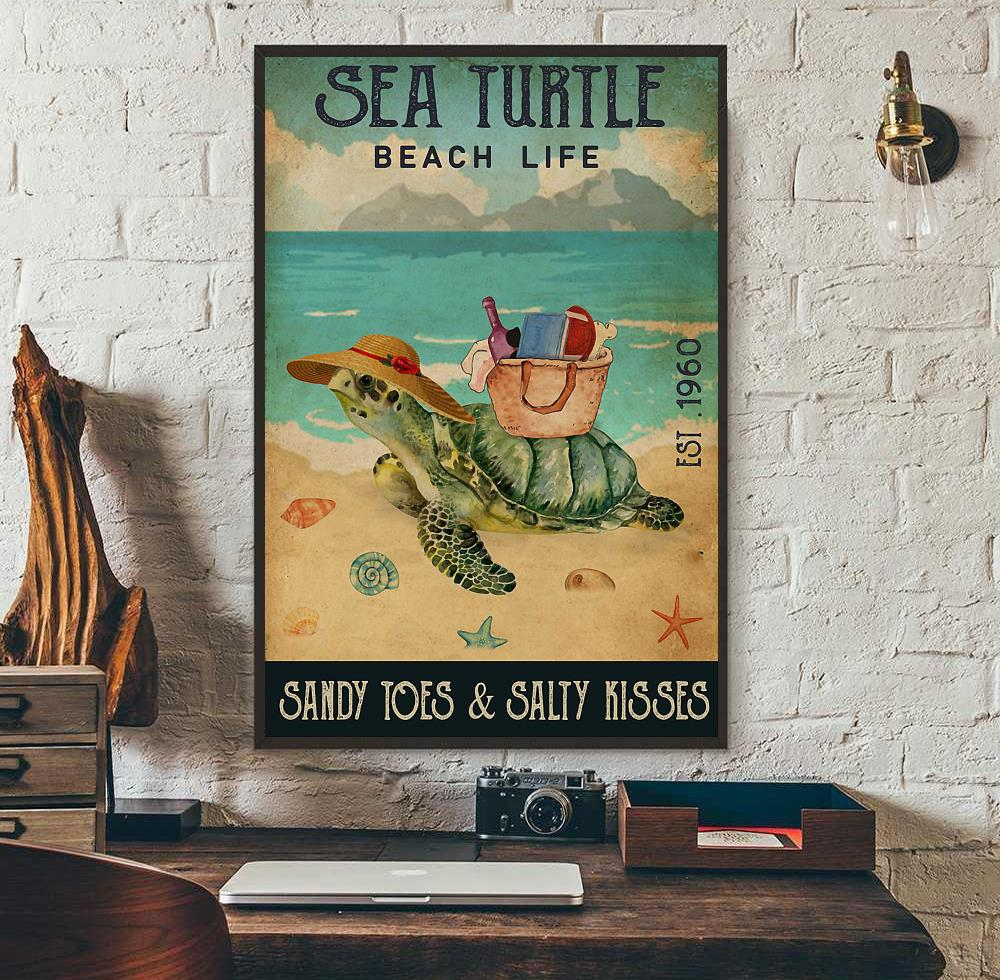 Sea Turtle beach life sandy toes and salty kisses poster wall art