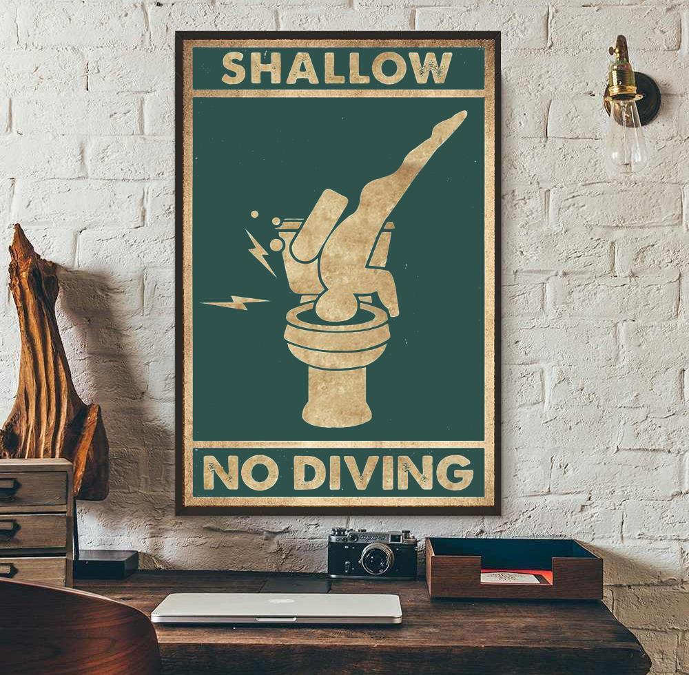Shallow no diving vertical poster wall art