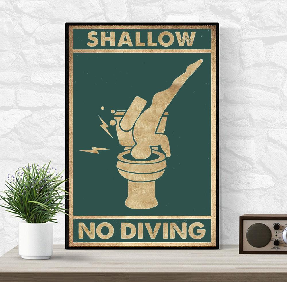 Shallow no diving vertical poster wrapped canvas