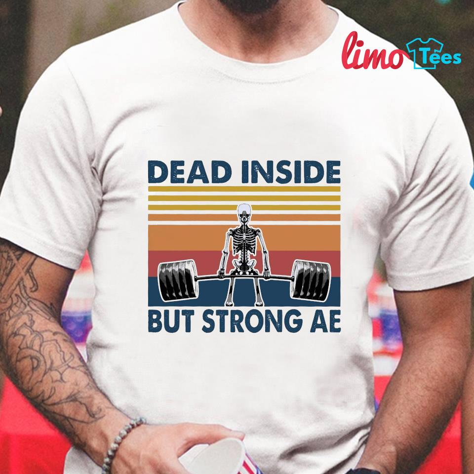 Skeleton dead inside but strong af vintage t-shirt