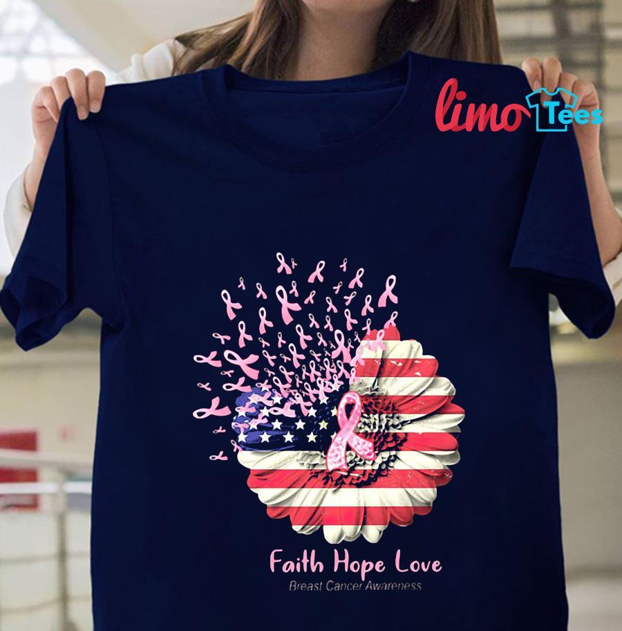 Sunflower breast cancer faith hope love t-s navy unisex