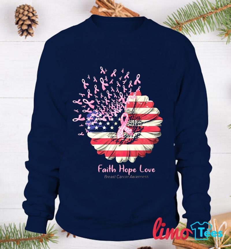Sunflower breast cancer faith hope love t-s sweatshirt