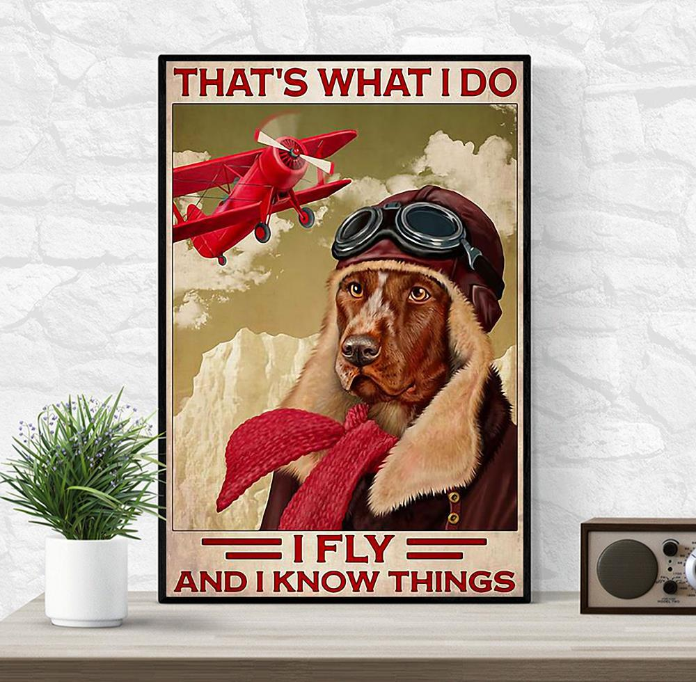 That's what I do fly and I know things Golden Retriever red aircraft poster wrapped canvas