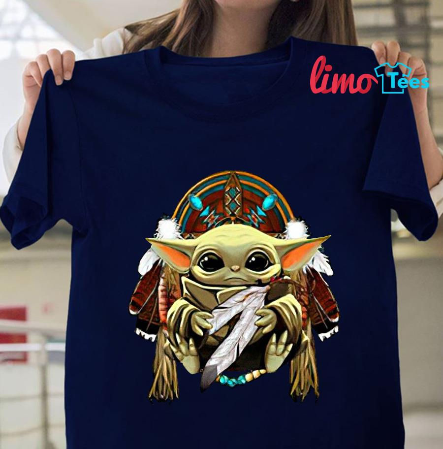 The Mandalorian Baby Yoda Native American people t-s navy unisex