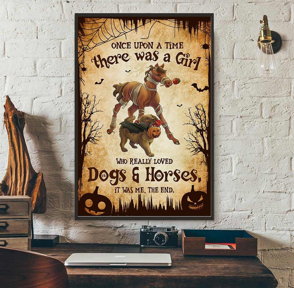 There was a girl who really loved dogs and horses Halloween poster wall art
