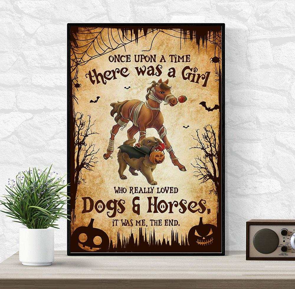 There was a girl who really loved dogs and horses Halloween poster wrapped canvas