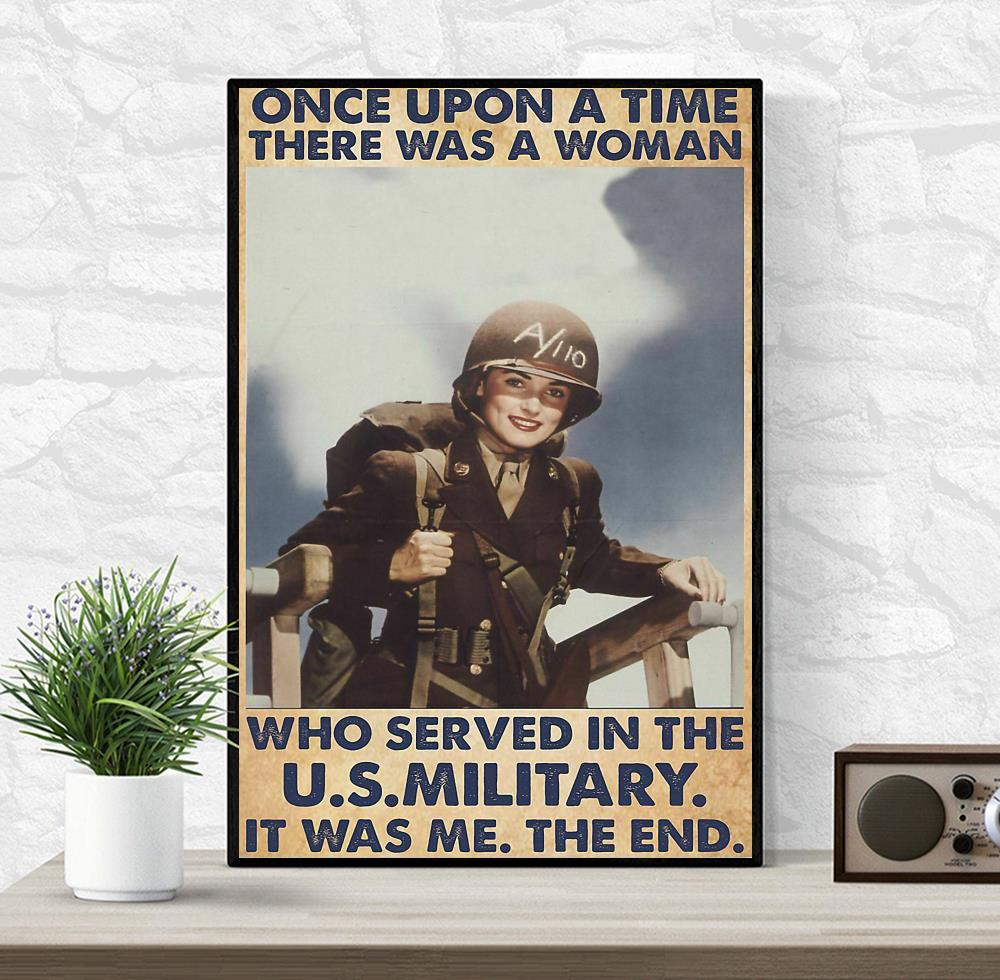 Veteran there was a woman who served in the US military poster wrapped canvas