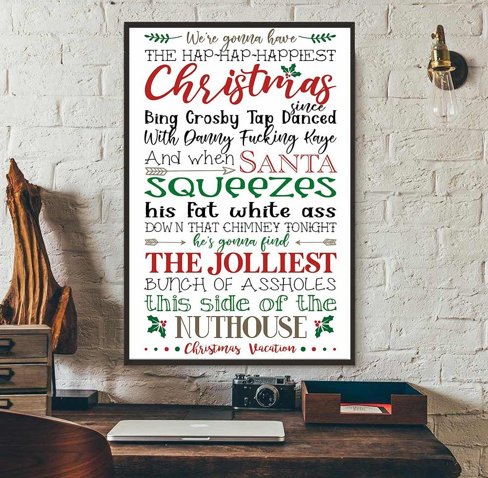 We gonna have happiest christmas when satan squeezes vertical canvas wall art