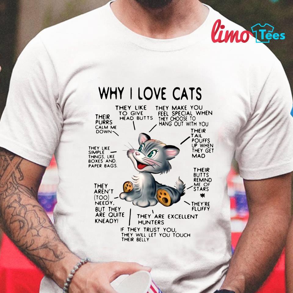 Why I love cats reason t-shirt