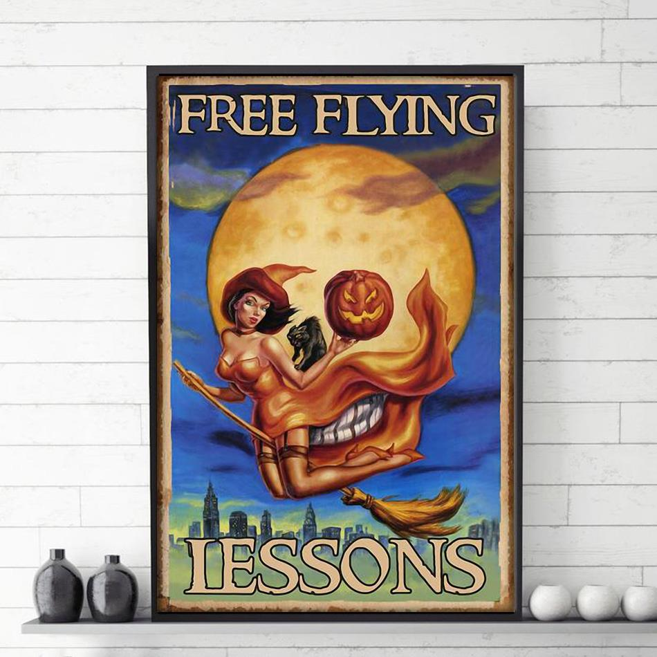 Witch girl skull free flying lessons poster