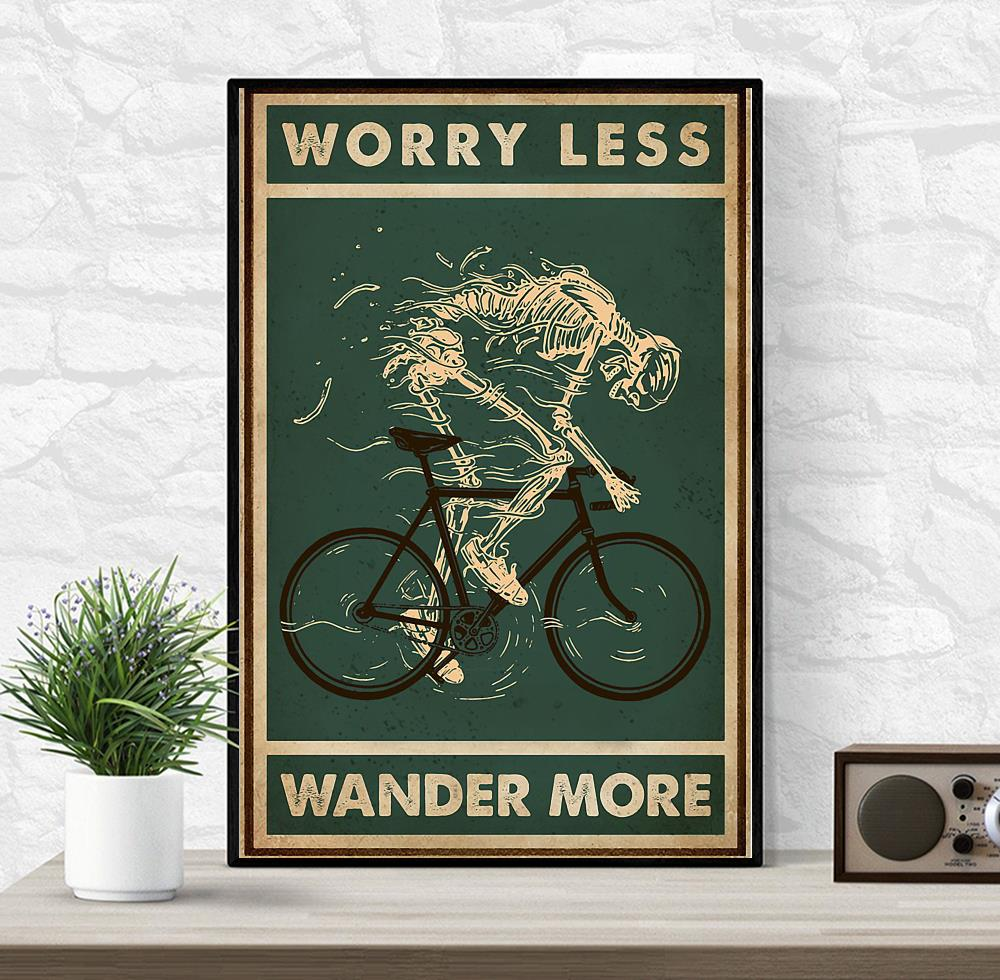 Worry less cycling wander more skeleton poster wrapped canvas