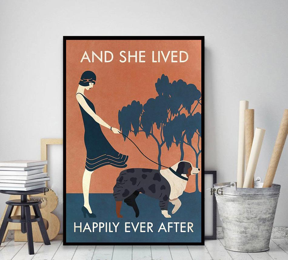Australian Shepherd and she lived happily ever after poster decor art