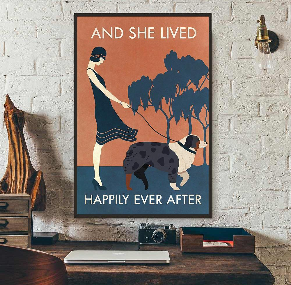 Australian Shepherd and she lived happily ever after poster wall art