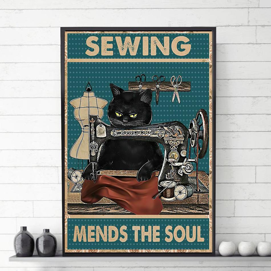 Black cat sewing mends the sould poster canvas