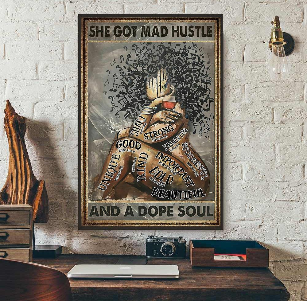Black girl love music she got mad hustle and a dope soul poster canvas wall art